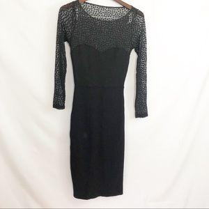 American Apparel Little Black Dress Sheer arms L